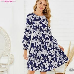 Midi summer dress with floral pattern